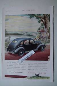"1937 Original Priced Full Colour Advert for The Ford V-8 ""30"" Saloon Car"