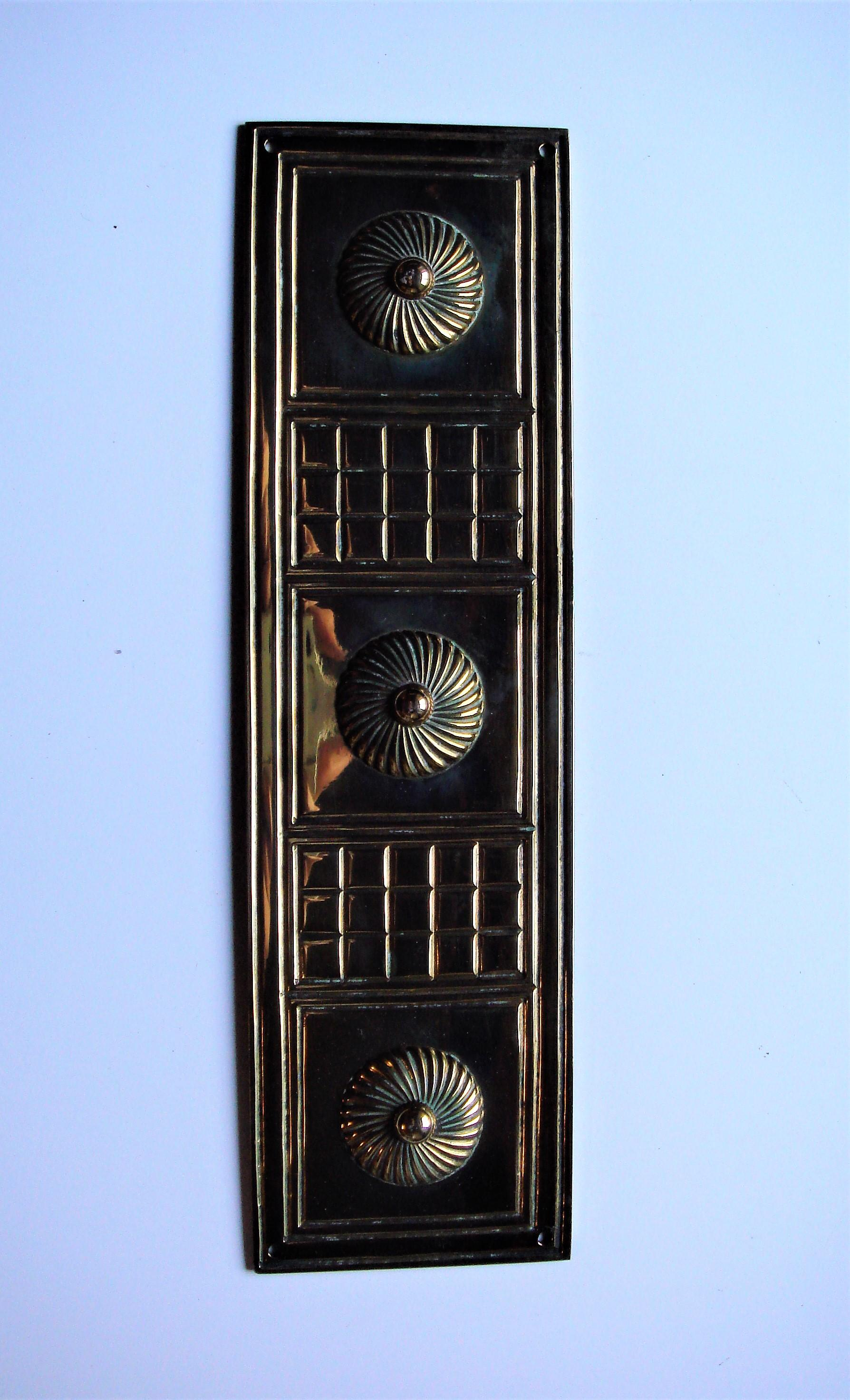 Victorian Cast Brass Finger Plate by W.Tonks & Son