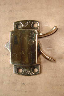 Original GWR polished brass sliding window catch.
