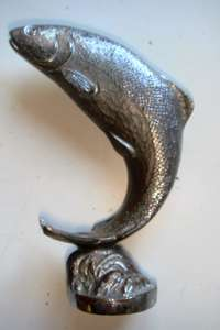 Chromium Plated Leaping Salmon Car Mascot or Paper Weight