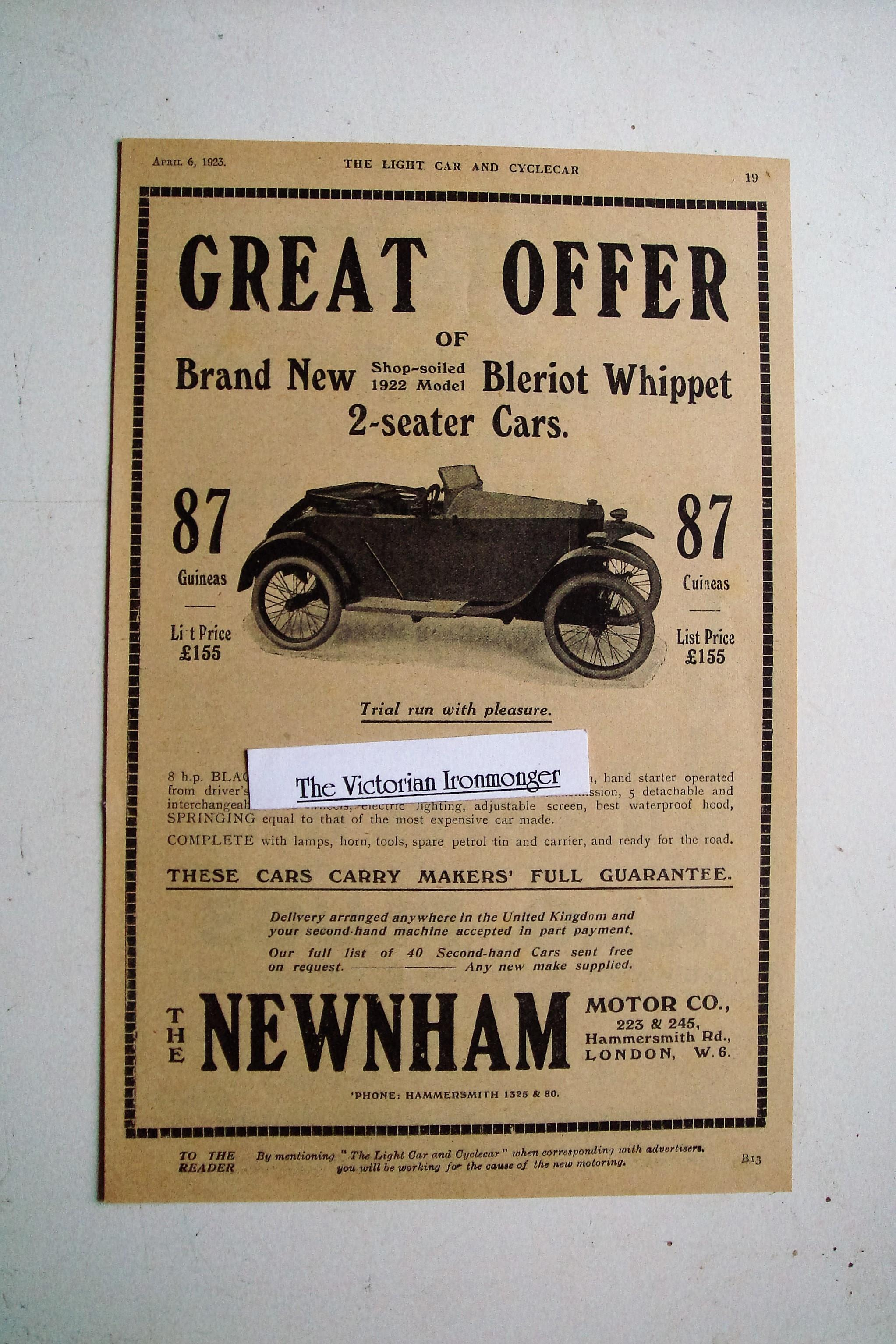1923 Priced Advertisement for Shop Soiled 1922 Bleriot Whippet 2-Seater Cars