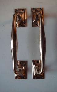 Good Quality Pair of Original 1920's Offset Solid Brass Door Pull Handles.