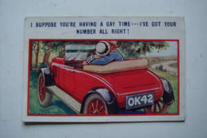 Motoring Humour Postcard from 1927
