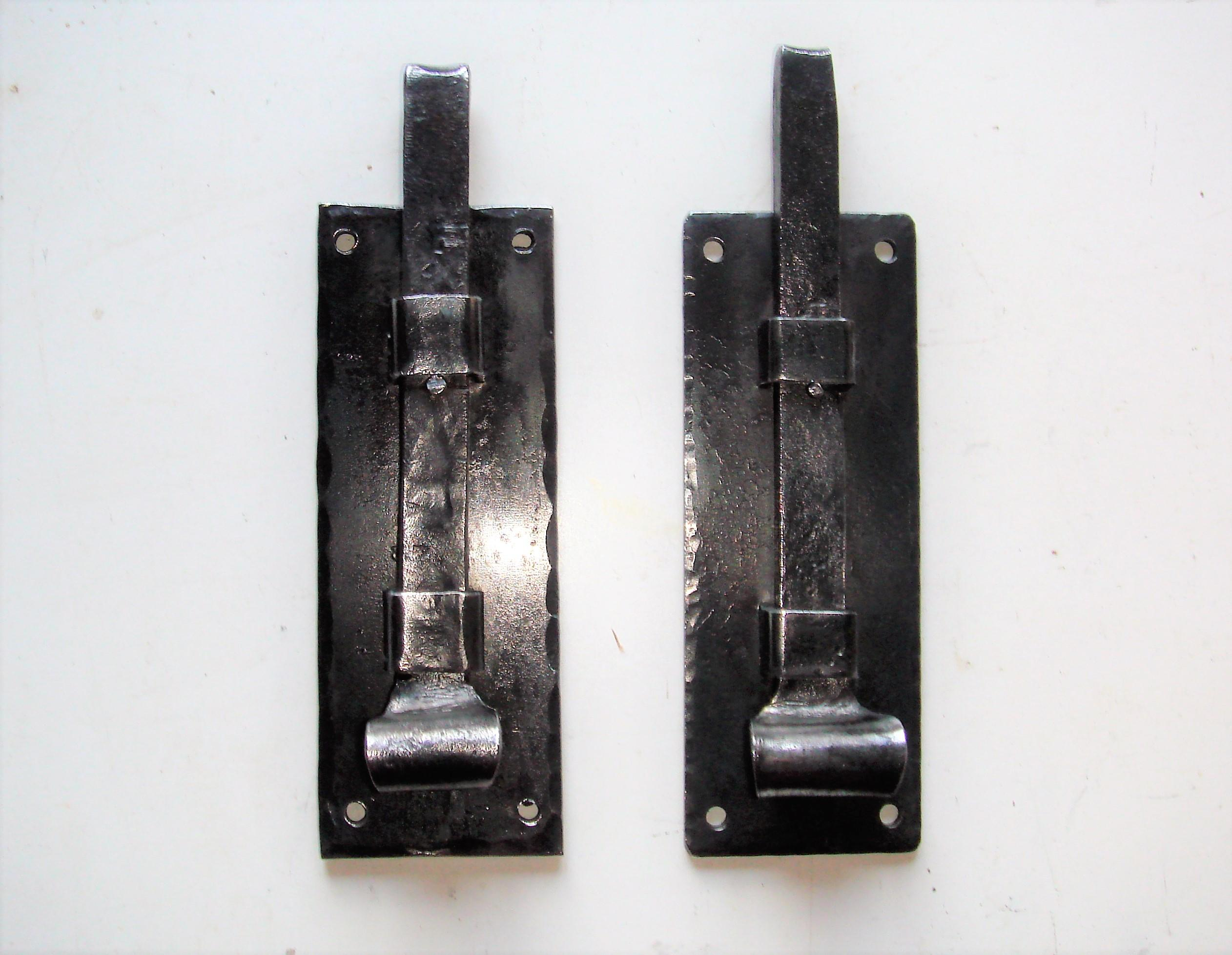"Reclaimed Pair of Arts & Crafts Iron 6"" Door or Gate Bolts."