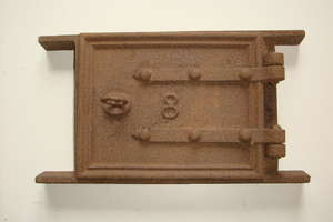Victorian Cast Iron Soot Door & Frame for Fireplace