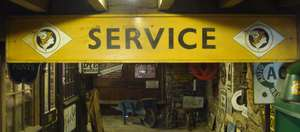 "Vintage Garage National Benzole ""Service"" Wooden Sign Board"