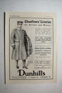 Original Priced Advertisement from 1911 for Dunhill's Chauffeurs Liveries