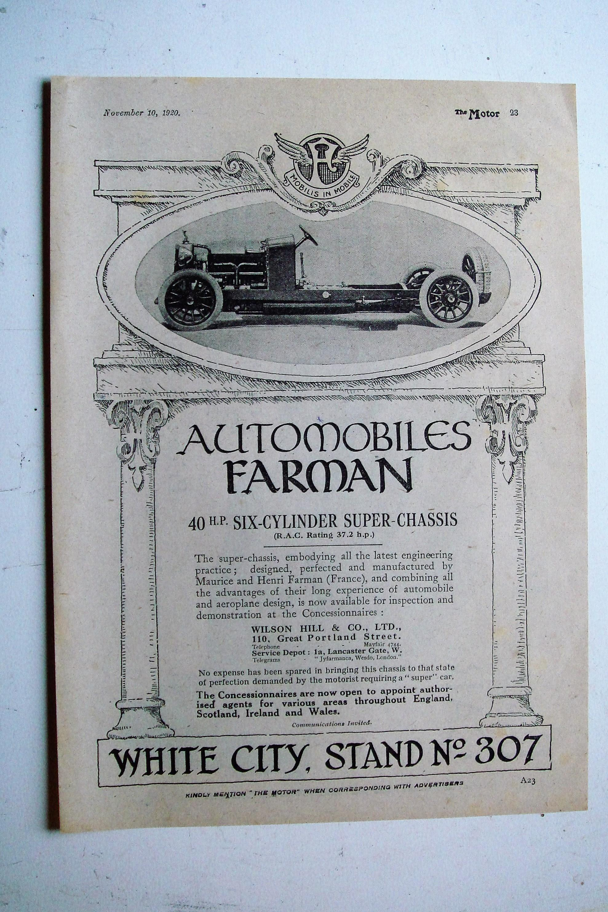 1920 Advertisement for Automobiles Farman 40 hp Six-Cylinder Super Chassis.