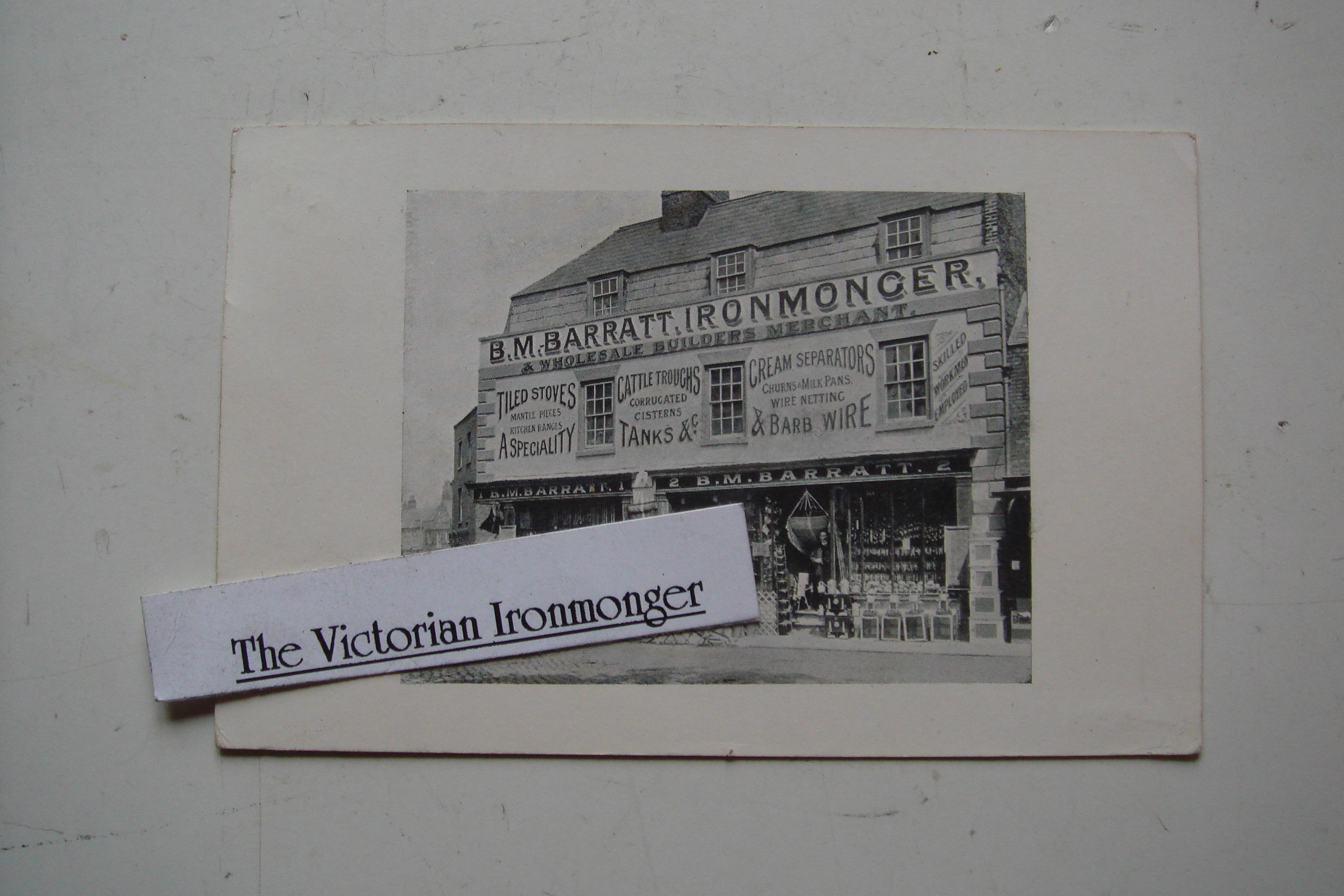 Vintage Advertising Post Card of 1914 for B M Barratt Ironmonger & Builders Merchant of Wisbech
