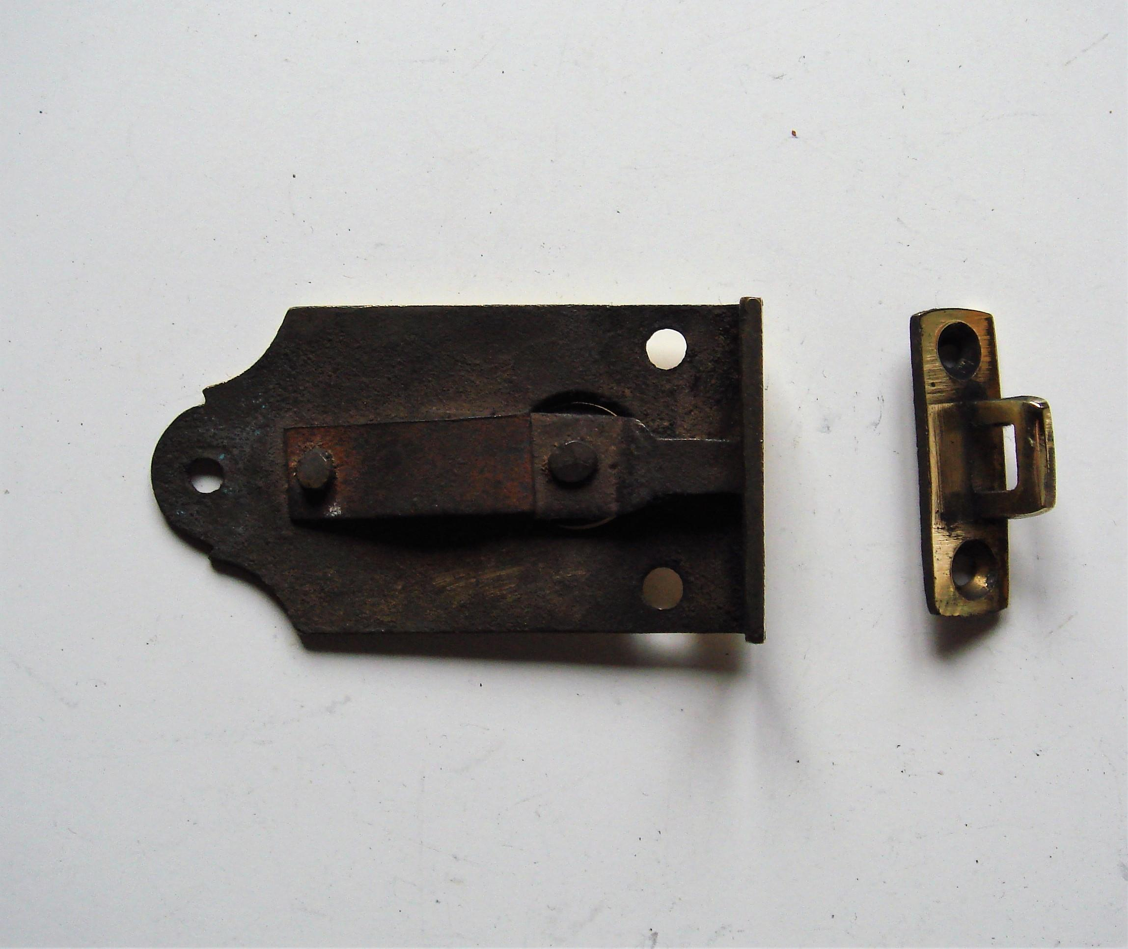 19th Century Spring Cupboard Door Catch & Keep