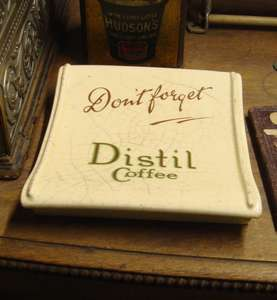 Vintage Shop Counter Ceramic Change Giver Tray Advertising Distil Coffee