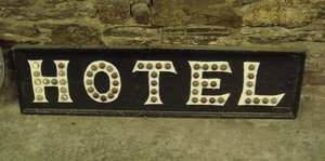 "Vintage Sign Written Wooden ""Hotel"" Sign with Glass ""Cat's Eye"" Reflectors"