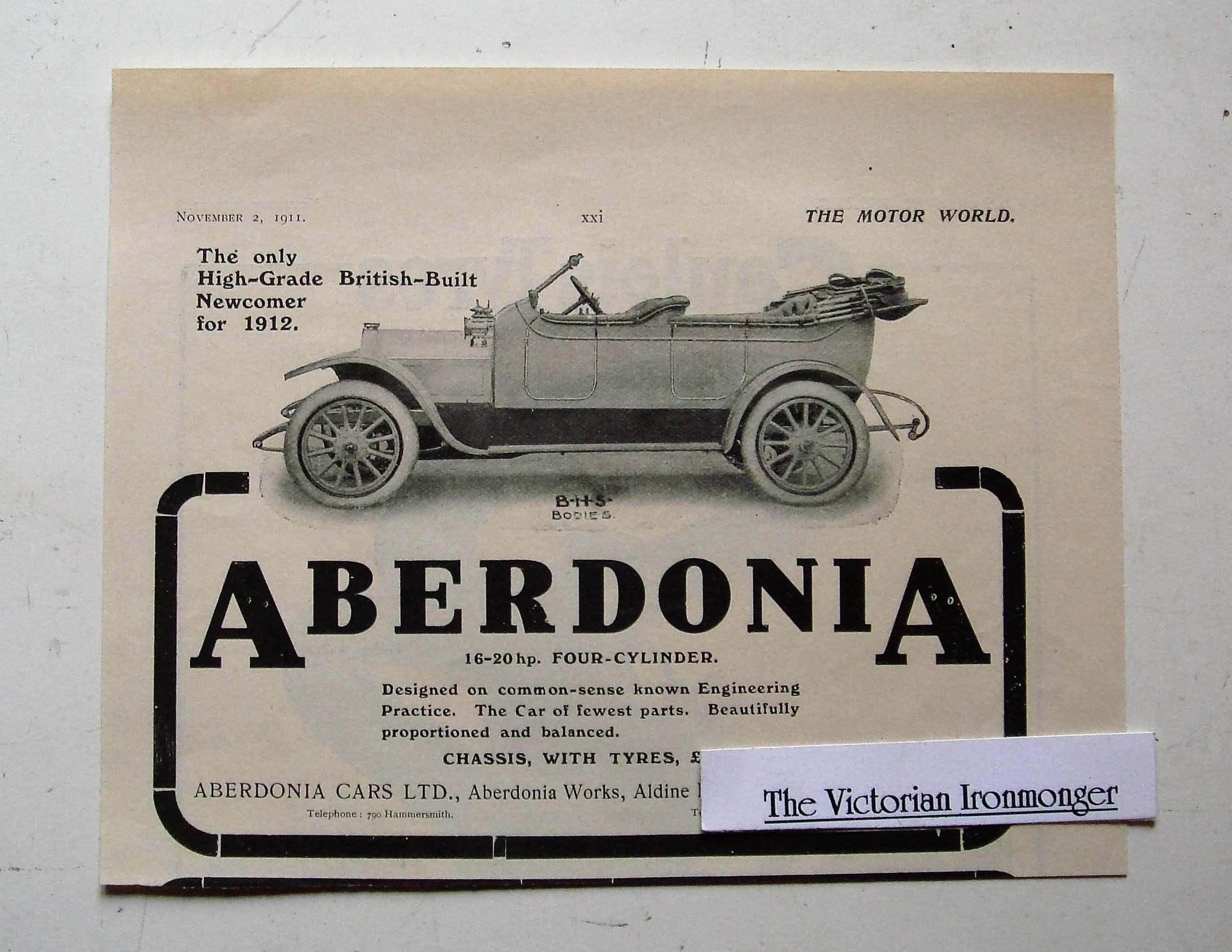1911 Advert for The Aberdonia (Shepherds Bush) 16-20 hp Four Cylinder Touring Car.