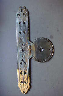 Victorian polished brass door plate