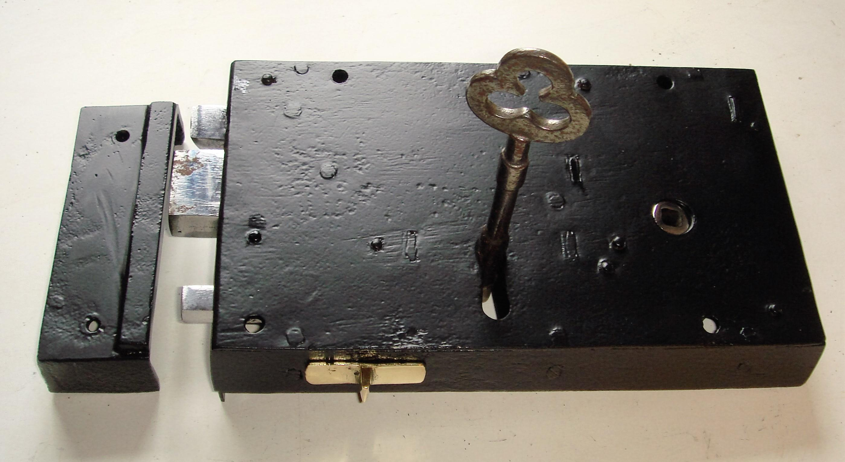 "Georgian 10"" x 6"" Steel Cased Front Door Lock of Circa 1800."
