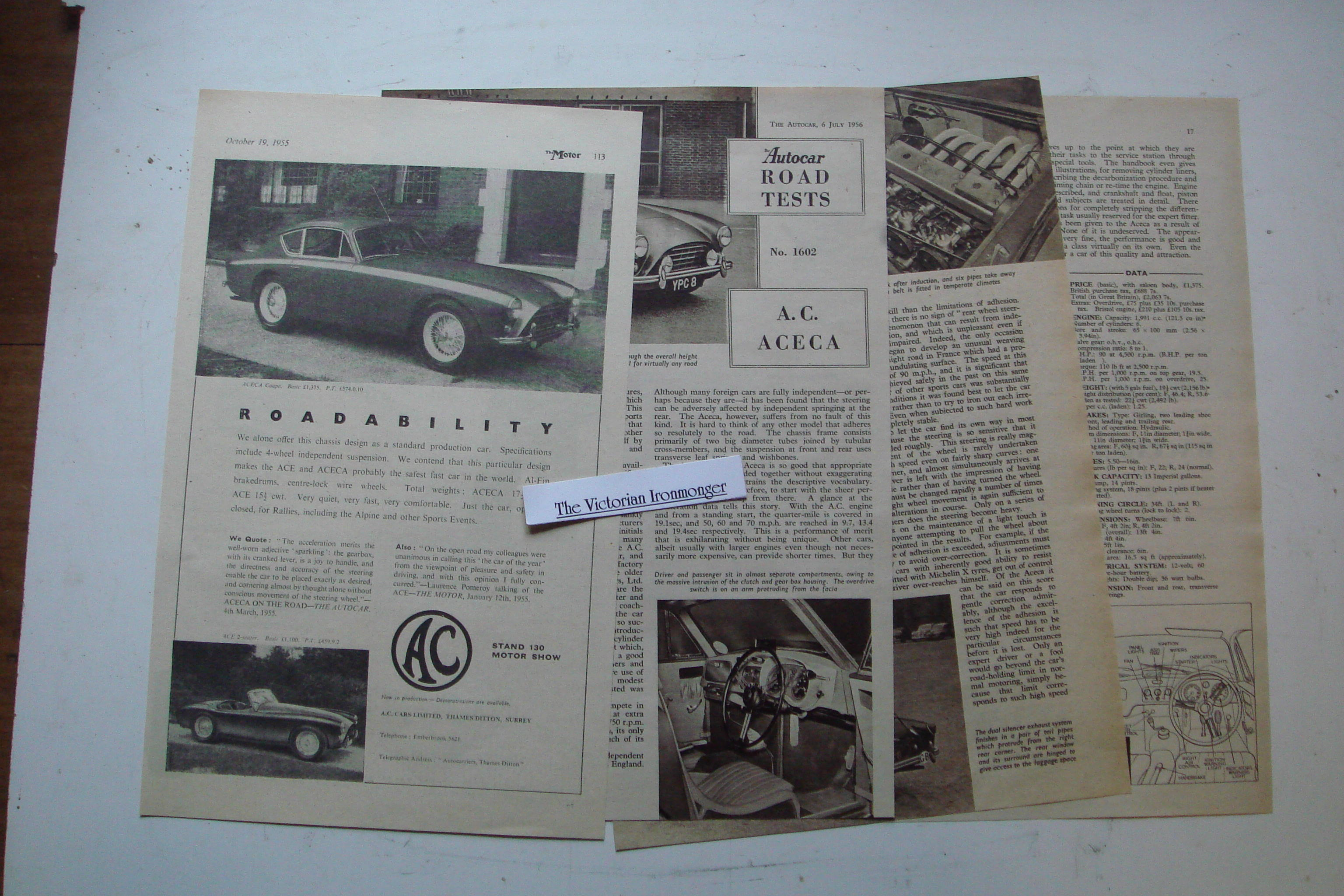 Original Advert & 4-page Road Test Report for The1955 AC Acea Coupe.