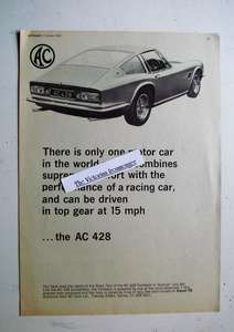 Original 1960 Advertisement for The AC 428 Coupe