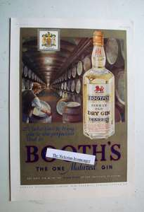 1937 Full Colour Advertisement for Booth's Finest Old Dry London Gin.