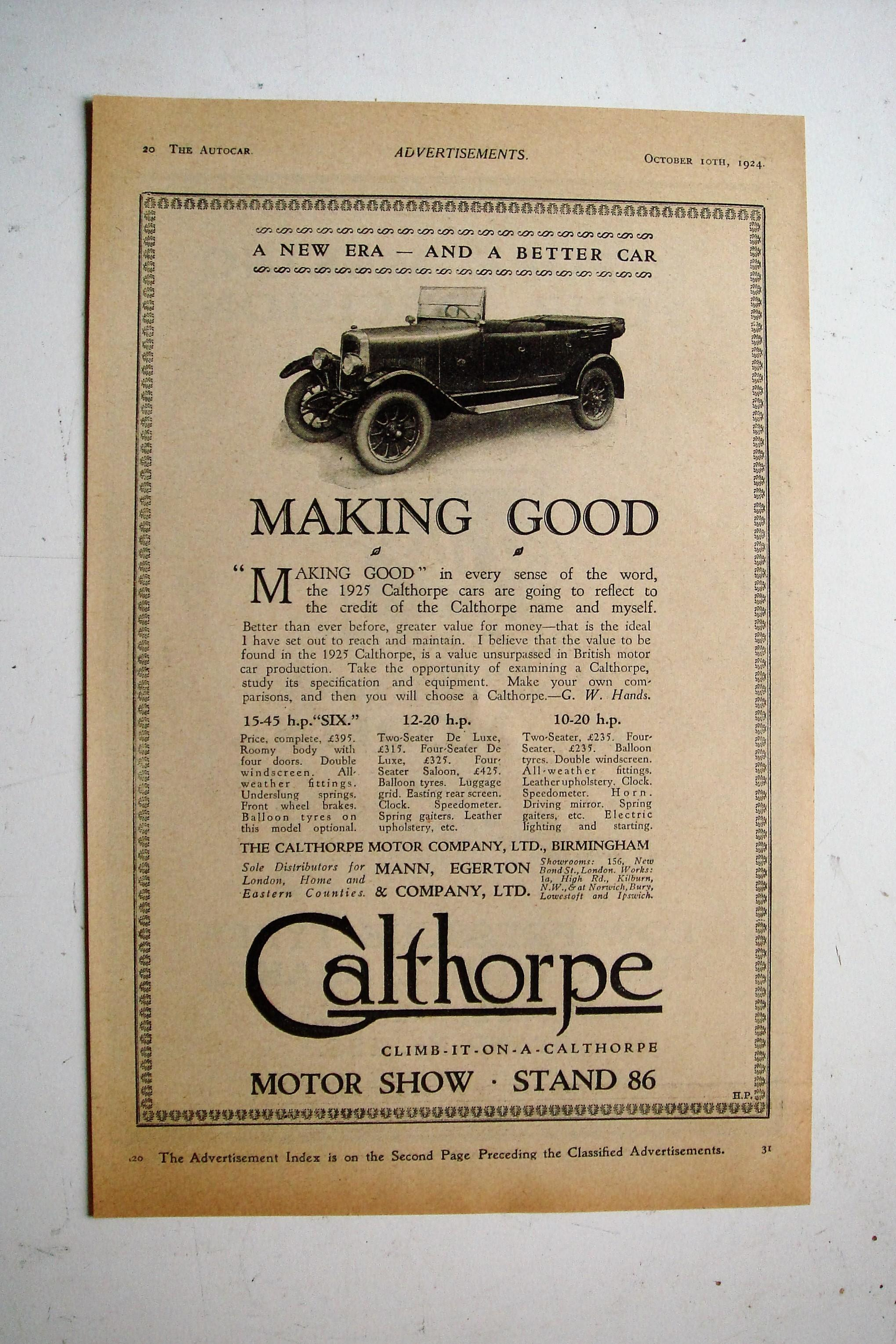 1924 Priced Advertisement for The 1925 Calthorpe Car Range