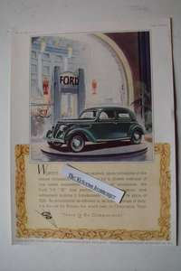 "Original 1937 Priced Colour Advert For The Ford V-8 ""22"" 4-Door Saloon Car"