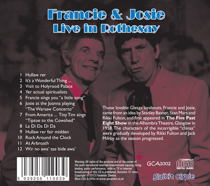 Rikki Fulton and Jack Milroy Francie & Josie Live in Rothesay 1970 CD