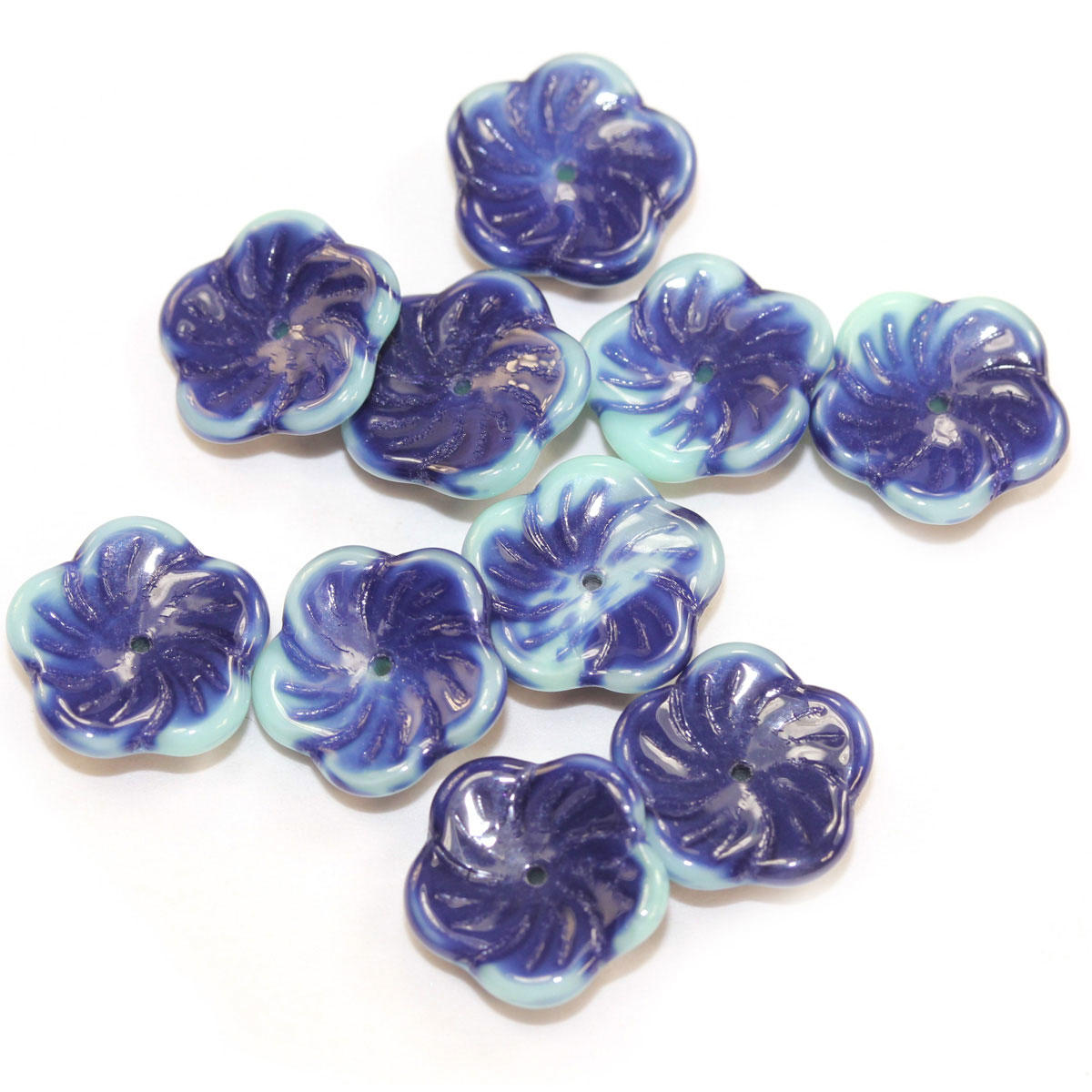 Denim Blue Glass Pinwheel Flower Bead