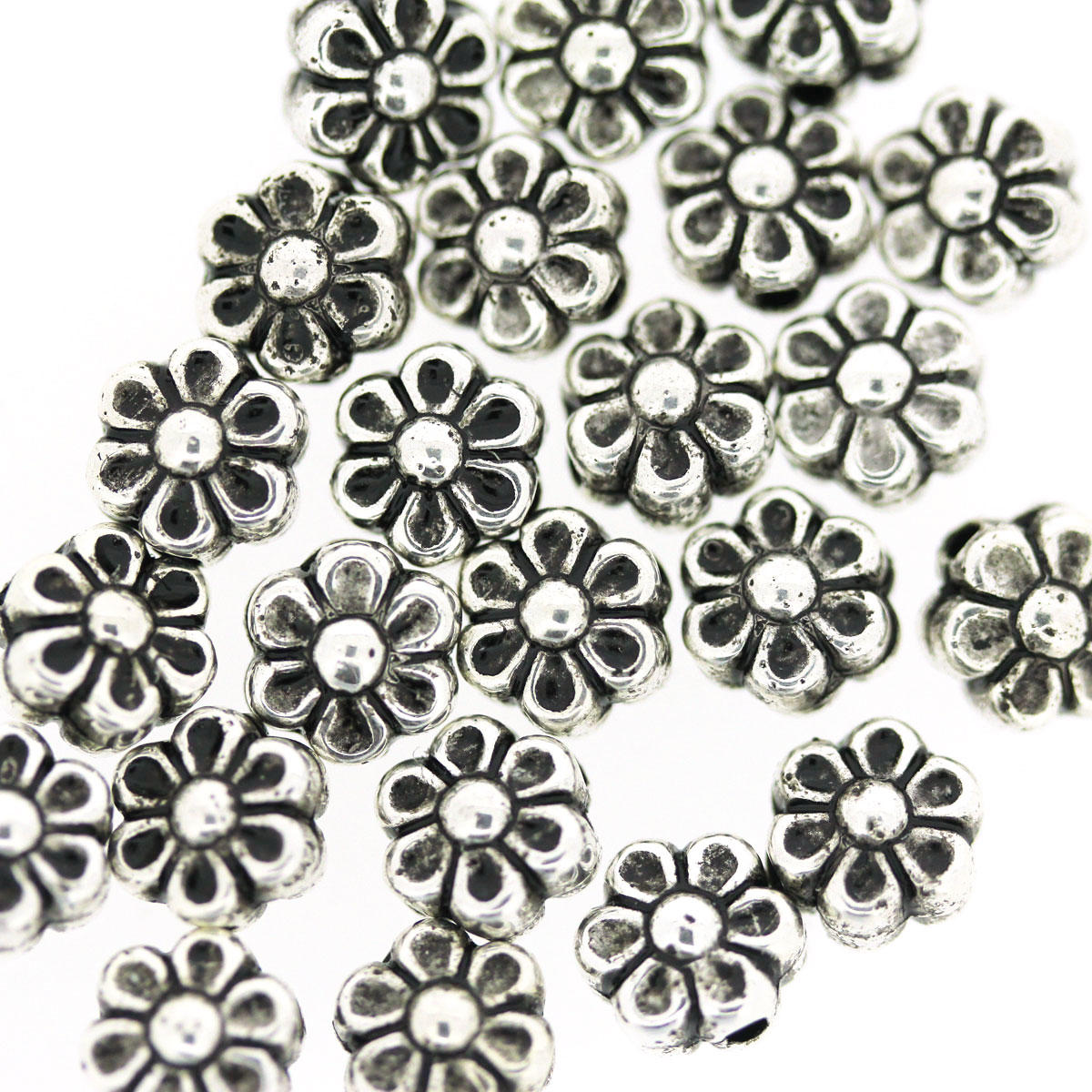 Antique Silver Delicate Daisy Bead