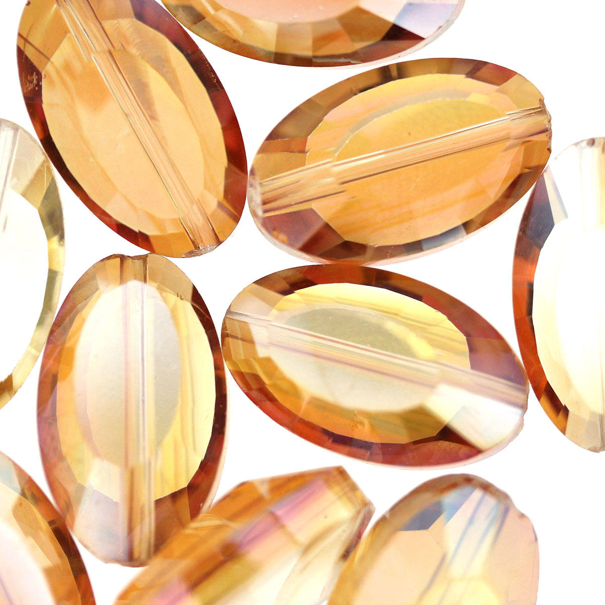 Amber Oval Electoplated Glass Beads