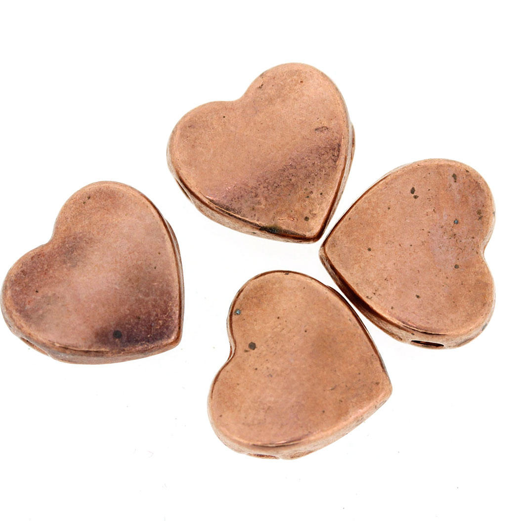Copper Flat Metal Heart Beads
