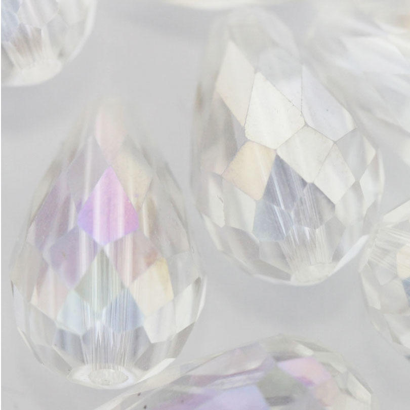 Clear AB Large Faceted Glass Drop Bead