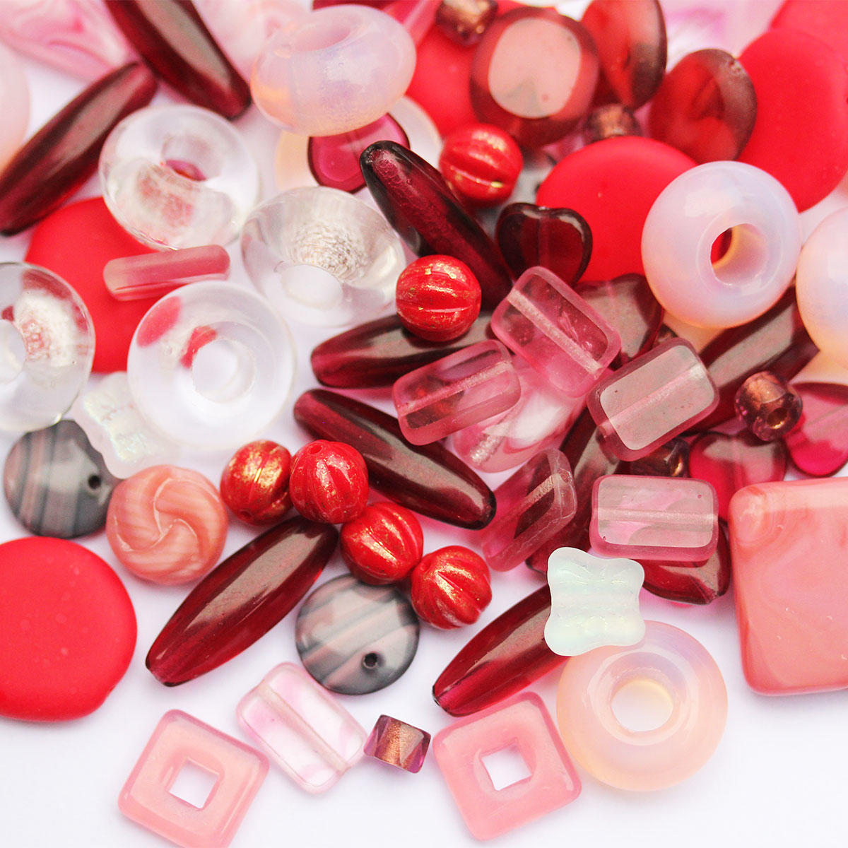 Cranberry, Pinks & Red Czech Glass Bead Mix Tubs