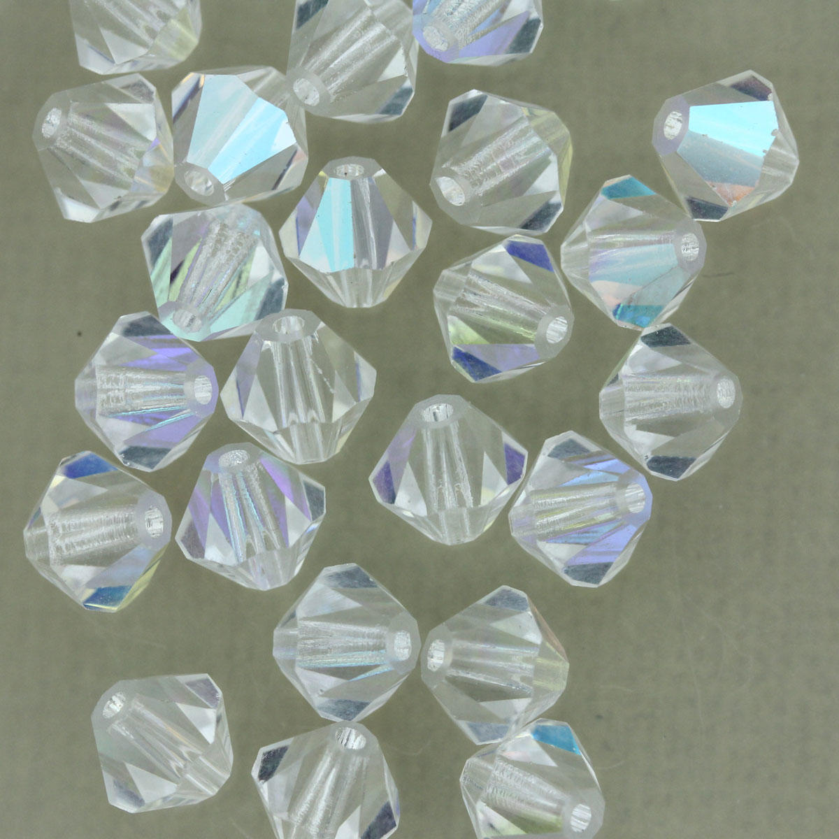 Crystal AB Crystal Bicone Glass Bead