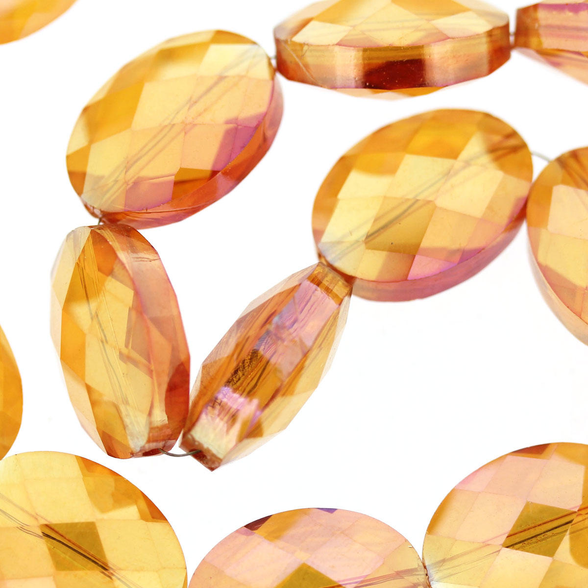 Fire Opal Faceted Glass Oval Beads