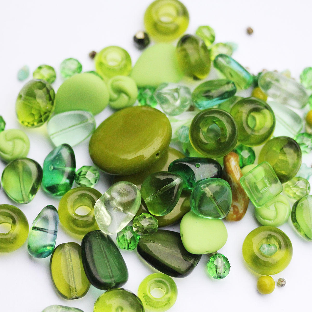 Green Czech Glass Quality Bead Mix Tub