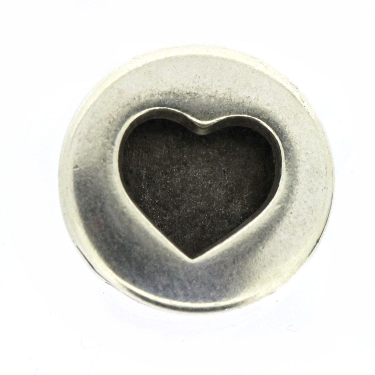 Heart Disc Slide Charm for Flat Leather