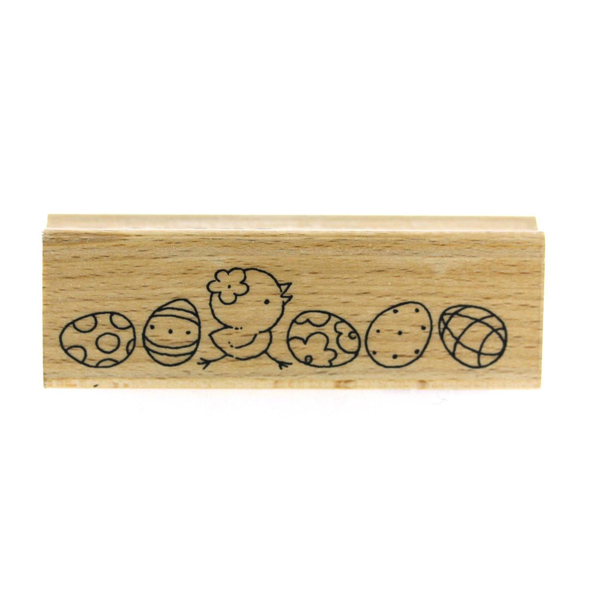Easter Eggs and Chick Long Rubber Stamp