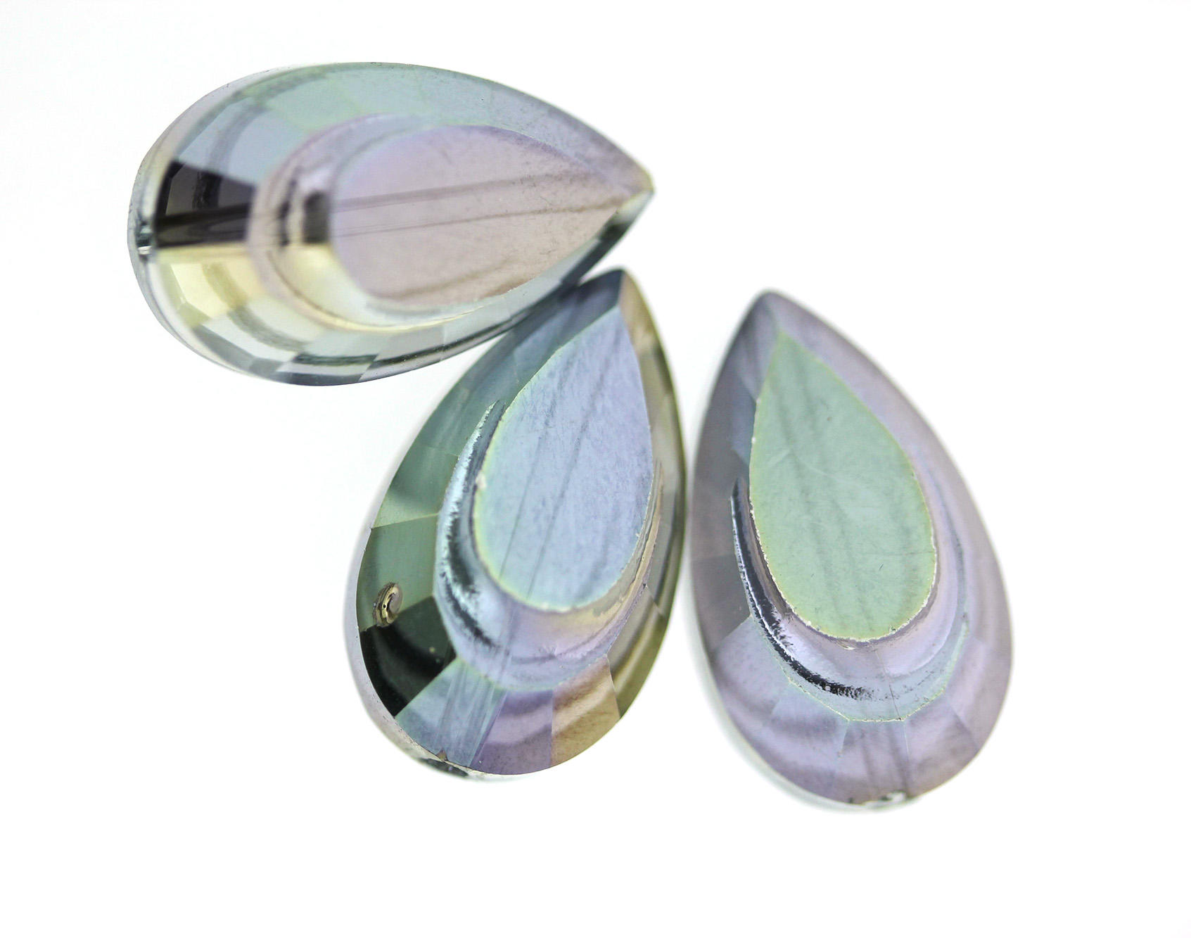 Rainbow Electroplated Glass Large Drop Beads