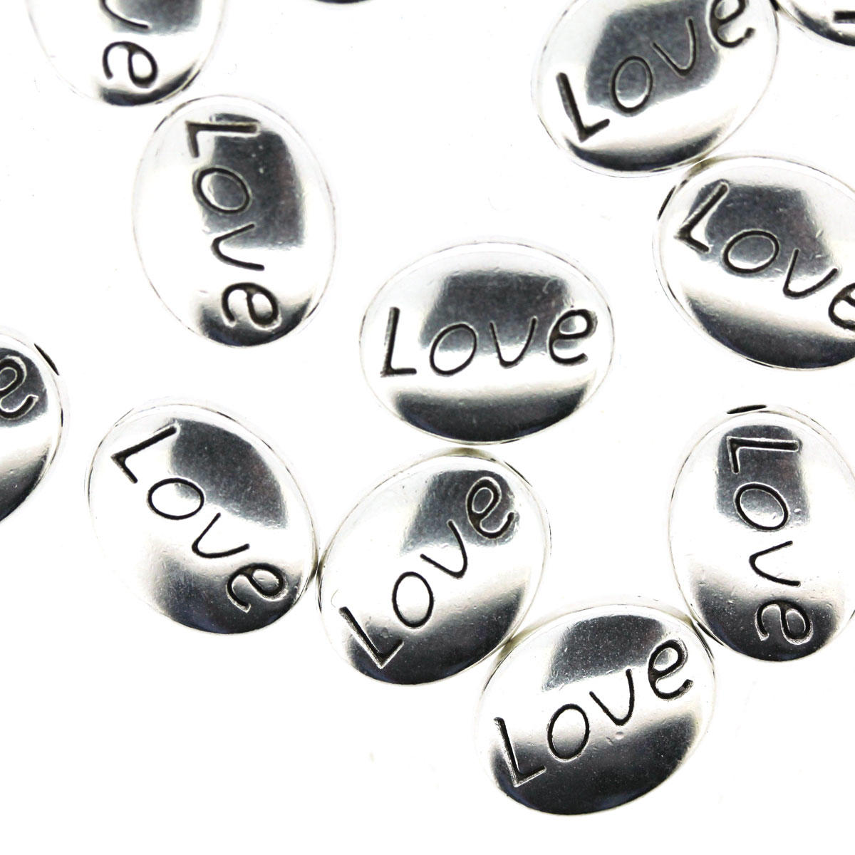 Silver Love Disc Bead