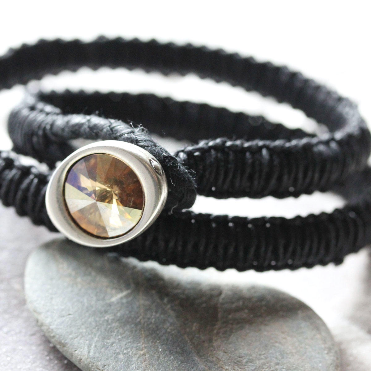 Swarovski Button Double Wrap Bracelet