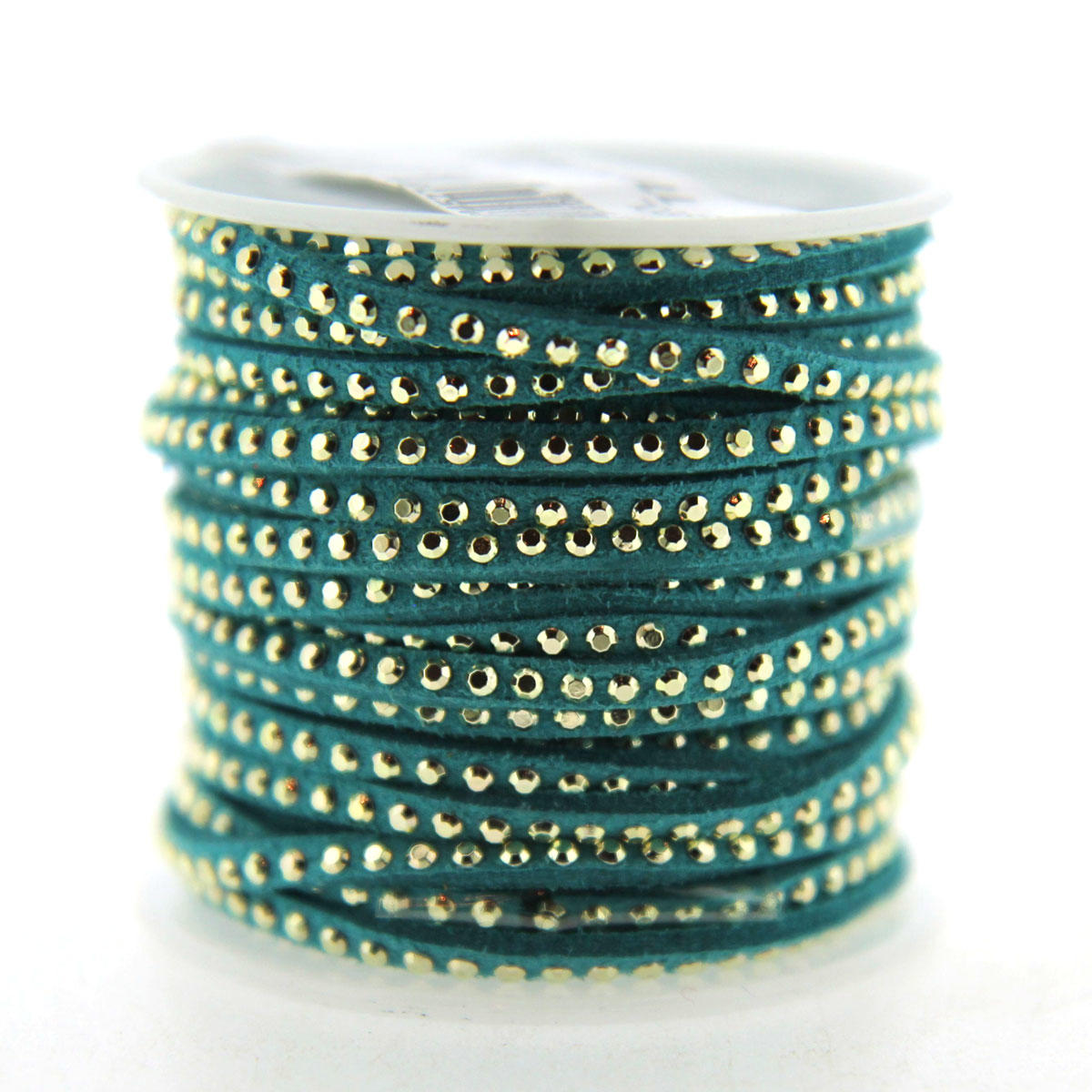 Turquoise Faux Suede Thin Banding with silver Beading