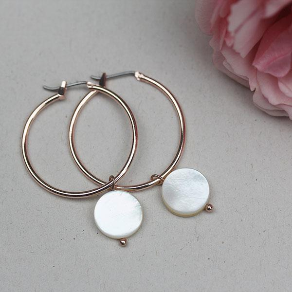 Rose Gold Earrings with Shell Discs