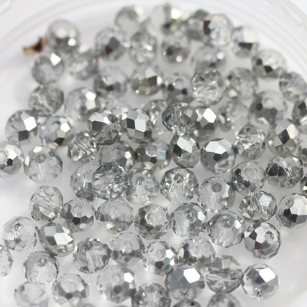 Light Grey 6/4,, Electroplated Glass Crystals