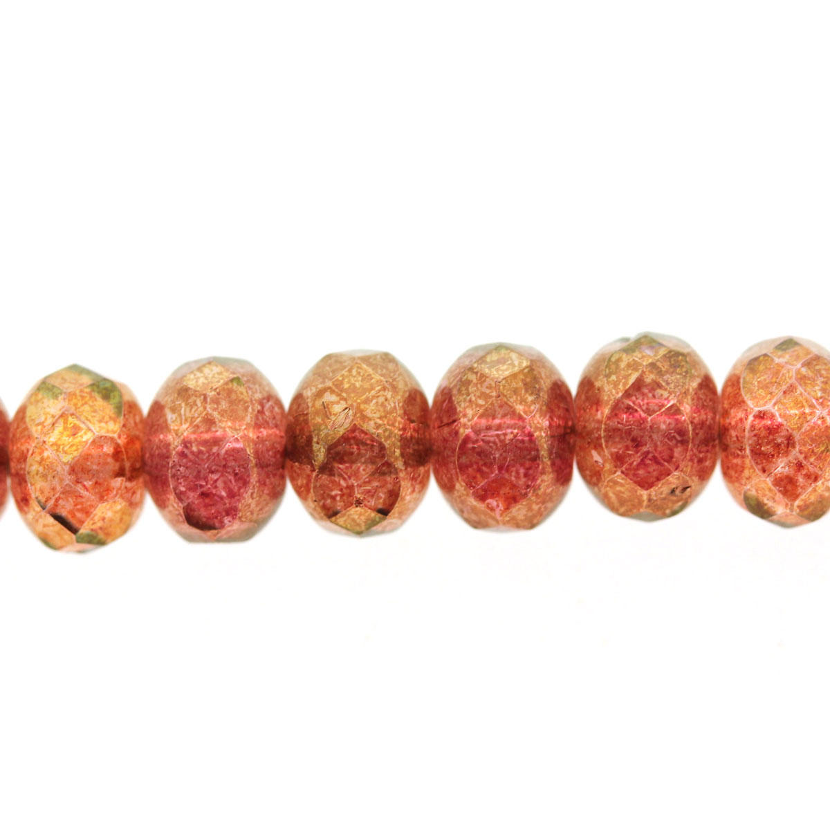 Pink Coral/Rust Squash Fire Polished AB Bead String - Code STRG97