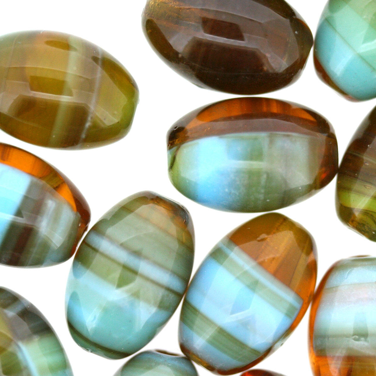 Duck Egg Blue and Amber Stripe Czech Bead