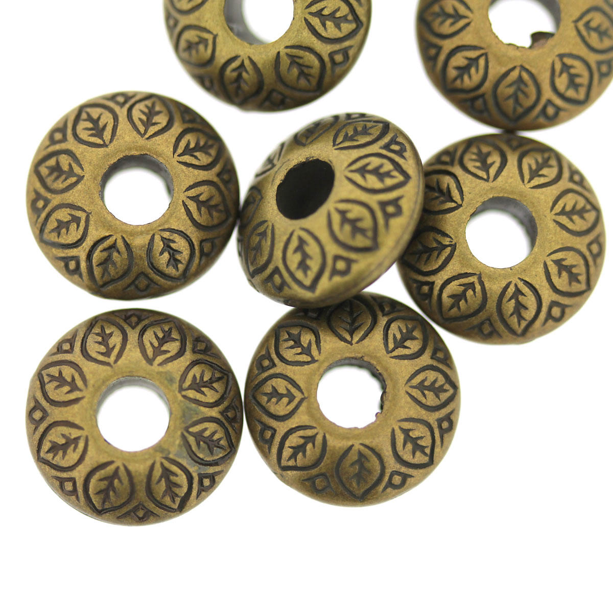 Antique Gold Patterned Cushion Bead