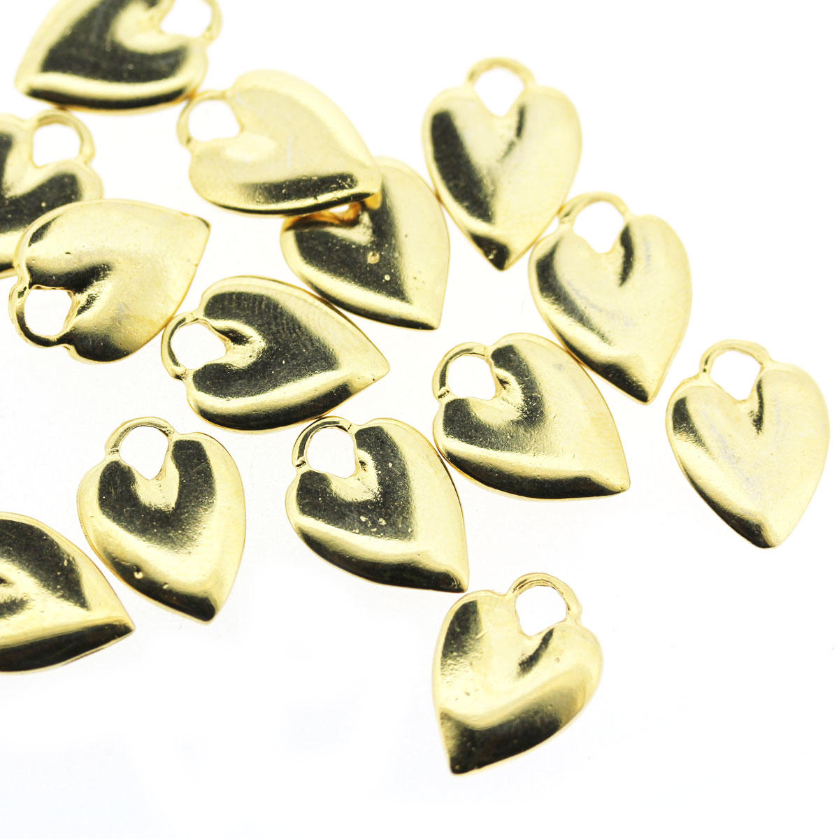 Gold Shiny Heart Charm