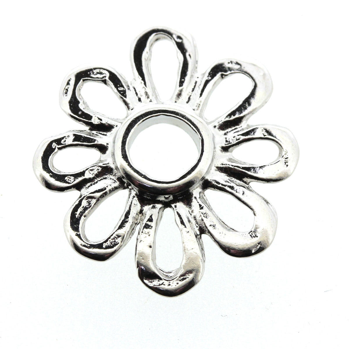 Silver Margarita Daisy Connector Bead