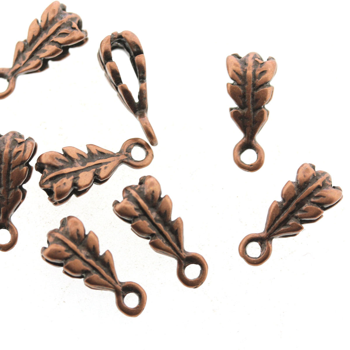 Antique Copper Oak Leaf Pendant Dropper