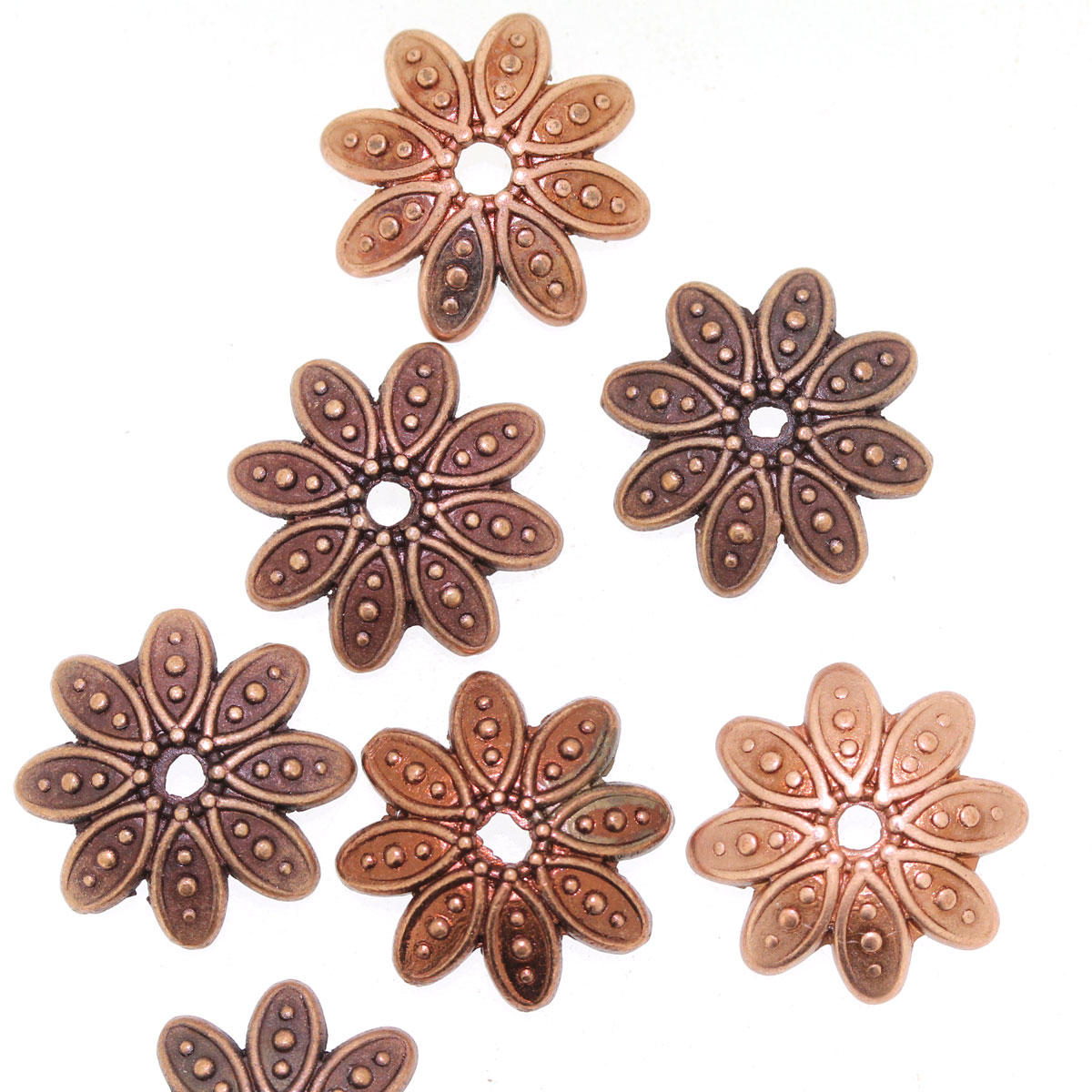 Antique Copper Flower Bead Cap Component