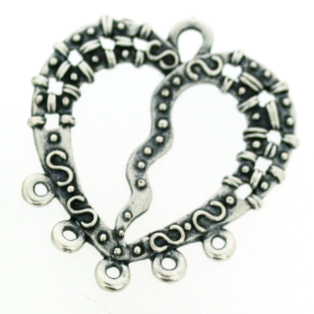 Silver Heart Multi Stand Connector Charm